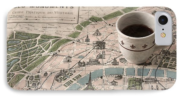 IPhone Case featuring the photograph Map Of Paris And Demi Tasse by Brooke T Ryan
