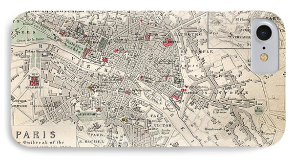 Map Of Paris At The Outbreak Of The French Revolution Phone Case by French School