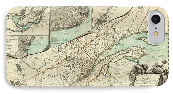 Map Of Quebec 1776 IPhone Case by Andrew Fare