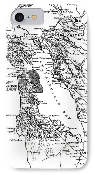 Map Of San Francisco And Thereabout Circa 1905 IPhone Case by California Views Mr Pat Hathaway Archives