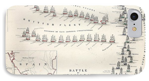 Map Of The Battle Of Trafalgar IPhone Case by Alexander Keith Johnson