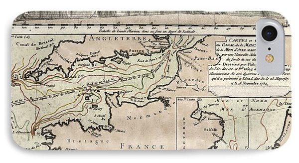 Map Of The English Channel IPhone Case by Library Of Congress, Geography And Map Division