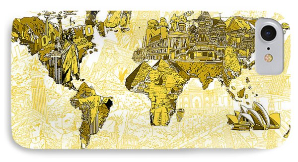 Map Of The World Collage  IPhone Case