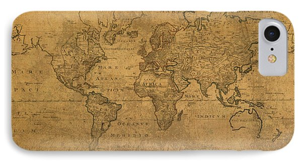 Map Of The World In 1784 Latin Text On Worn Stained Vintage Parchment IPhone Case by Design Turnpike