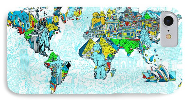 Map Of The World Landmark Collage 2 IPhone Case