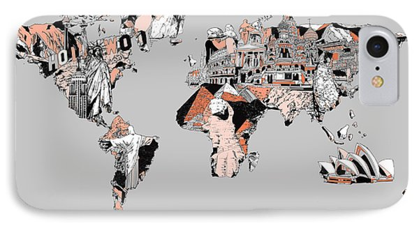 Map Of The World Landmark Collage IPhone Case