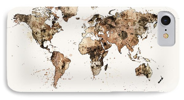 Map Of The World Map Sepia Watercolor IPhone Case