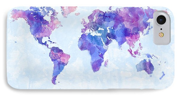 Map Of The World Map Watercolor Painting IPhone Case