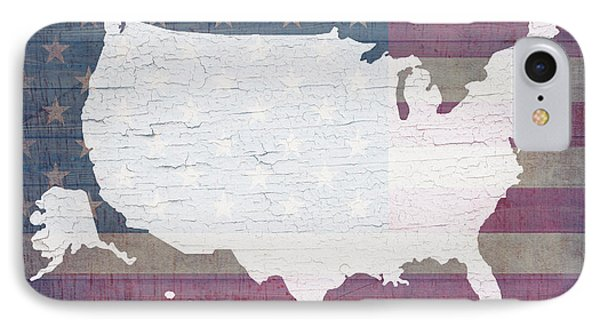 Map Of United States In White Old Paint On American Flag Barn Wood IPhone Case by Design Turnpike