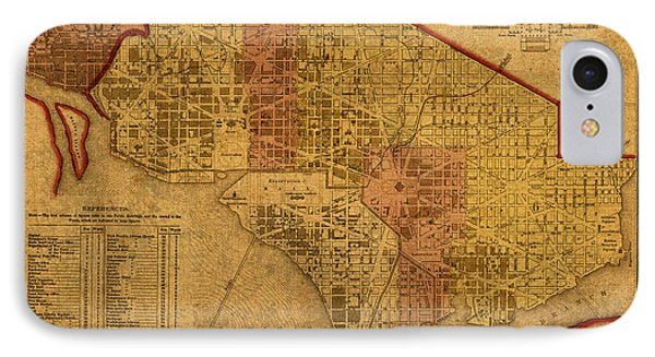 Map Of Washington Dc In 1850 Vintage Old Cartography On Worn Distressed Canvas IPhone Case