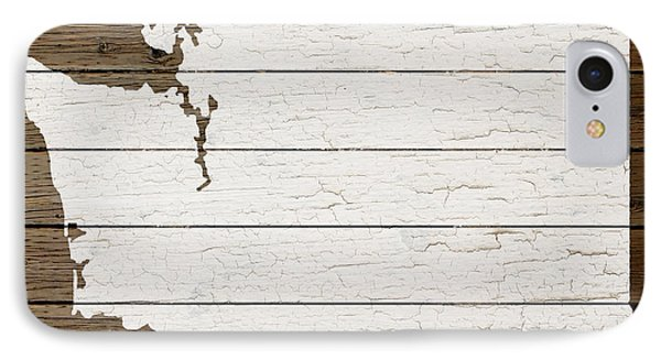 Map Of Washington State Outline White Distressed Paint On Reclaimed Wood Planks IPhone Case by Design Turnpike