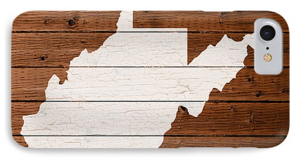 Map Of West Virginia State Outline White Distressed Paint On Reclaimed Wood Planks IPhone Case