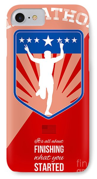 Marathon Runner Finish Run Poster Phone Case by Aloysius Patrimonio