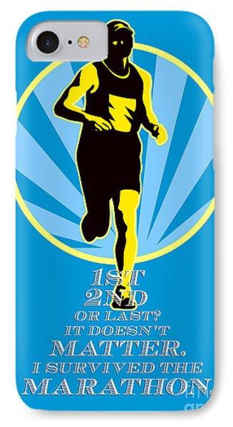 Marathon Runner First Retro Poster Phone Case by Aloysius Patrimonio