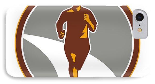 Marathon Runner Front Circle Retro Phone Case by Aloysius Patrimonio