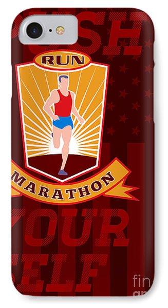Marathon Runner Push Yourself Poster Front Phone Case by Aloysius Patrimonio