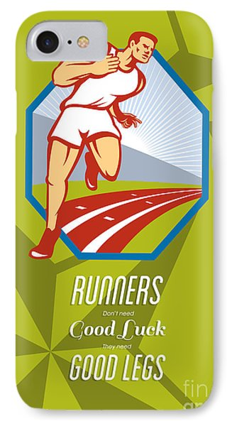 Marathon Runner Race Track Retro Poster Phone Case by Aloysius Patrimonio