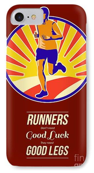 Marathon Runner Retro Poster Phone Case by Aloysius Patrimonio