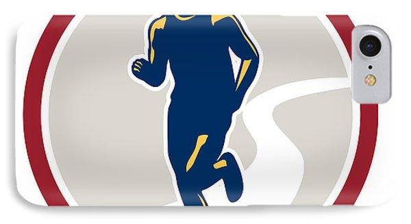Marathon Runner Running Circle Retro Phone Case by Aloysius Patrimonio