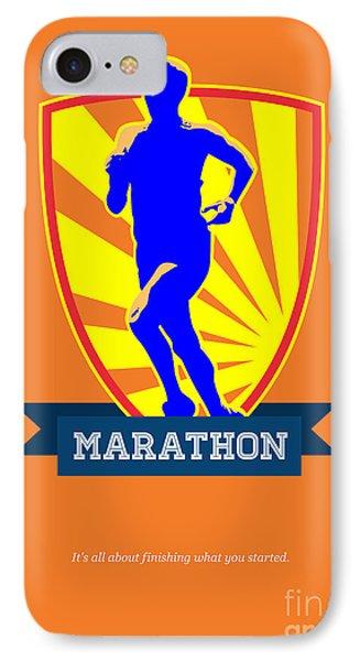 Marathon Runner Starting Run Retro Poster Phone Case by Aloysius Patrimonio