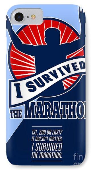 Marathon Runner Survived Poster Retro Phone Case by Aloysius Patrimonio