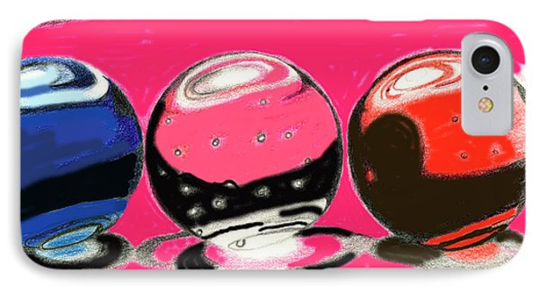 IPhone Case featuring the drawing Marble Planets by Mary Bedy