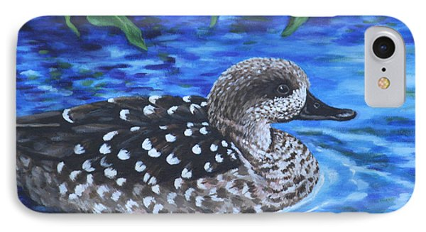 Marbled Teal Duck On The Water IPhone Case by Penny Birch-Williams