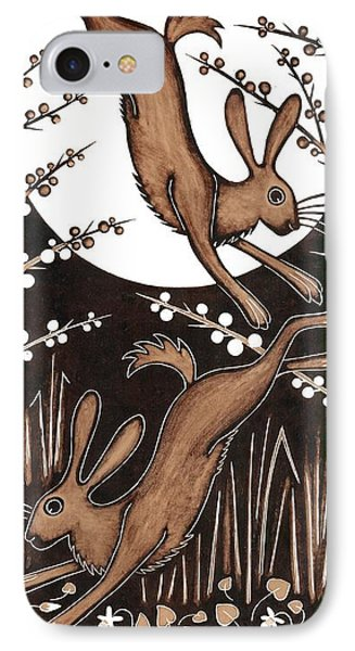 March Hares, 2013 Woodcut IPhone Case by Nat Morley