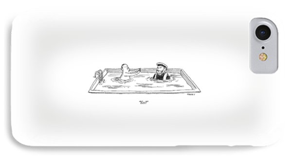 Marco Polo In A Pool With A Man Playing Marco Polo IPhone Case by Rich Sparks