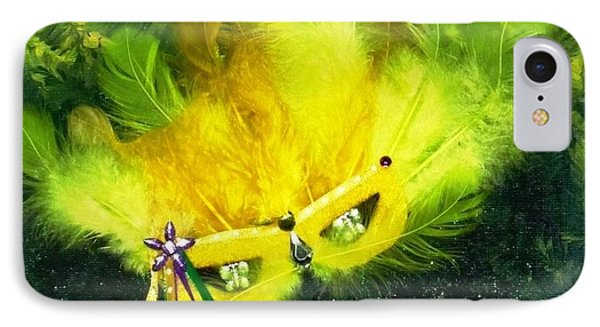 IPhone Case featuring the painting Mardi Gras On Green by Alys Caviness-Gober