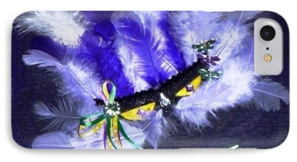 IPhone Case featuring the painting Mardi Gras On Purple by Alys Caviness-Gober