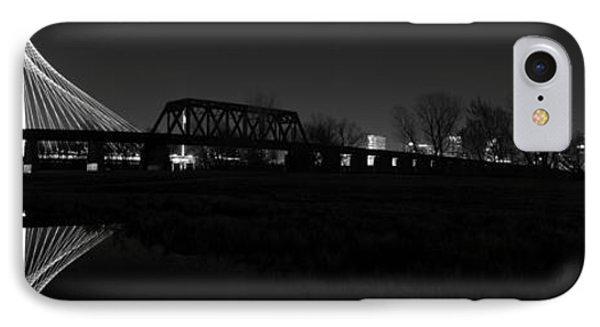 Margaret Hunt Hill Bridge Dallas Skyline Black And White Phone Case by Jonathan Davison