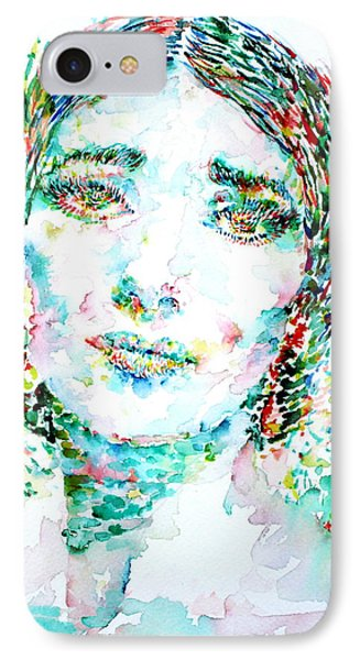 Maria Callas - Watercolor Portrait.1 IPhone Case by Fabrizio Cassetta