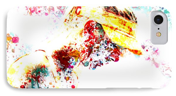 Maria Sharapova Paint Splatter 3p IPhone Case by Brian Reaves