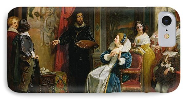 Marie De Medici 1573-1642 Visiting The Studio Of Rubens, 1839 Oil On Canvas IPhone Case by Claude Jacquand
