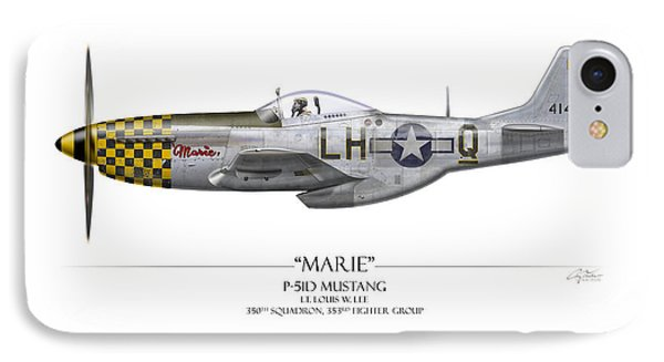 Marie P-51 Mustang - White Background IPhone Case by Craig Tinder