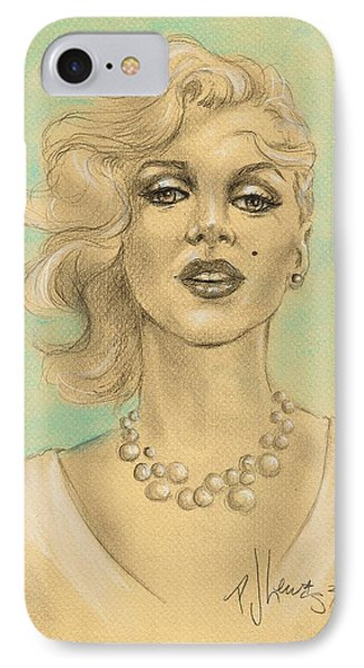 Marilyn In White Phone Case by P J Lewis