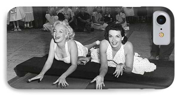 Marilyn Monroe And Jane Russell IPhone Case by Underwood Archives