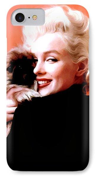Marilyn Monroe And Pekingese Portrait IPhone Case