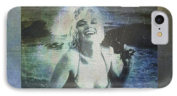 Marilyn Monroe At The Beach IPhone Case by Absinthe Art By Michelle LeAnn Scott