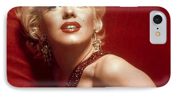Marilyn Monroe In Red IPhone Case by Georgia Fowler