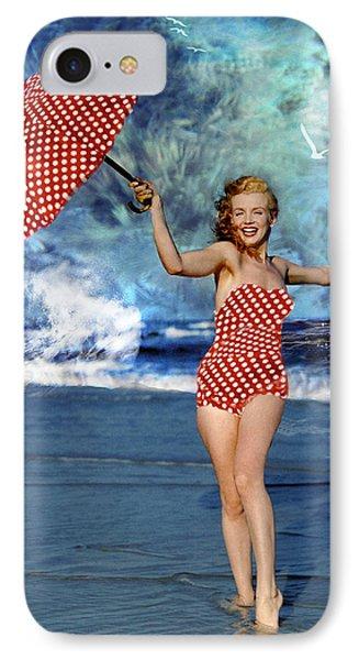 Marilyn Monroe - On The Beach IPhone Case by EricaMaxine  Price