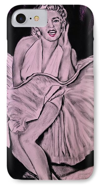 IPhone Case featuring the drawing Marilyn Monroe Pretty In Pink Lite by Eric Dee