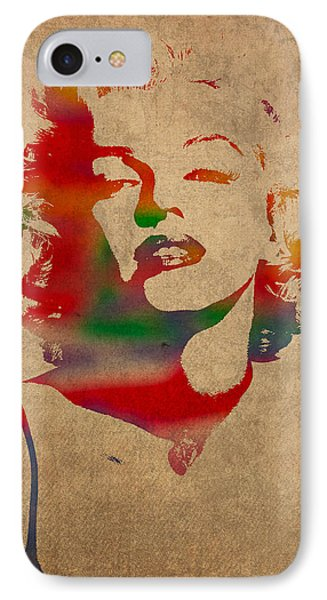 Marilyn Monroe Watercolor Portrait On Worn Distressed Canvas IPhone Case by Design Turnpike