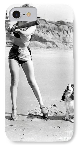 Marilyn Playing Baseball At The Beach IPhone Case