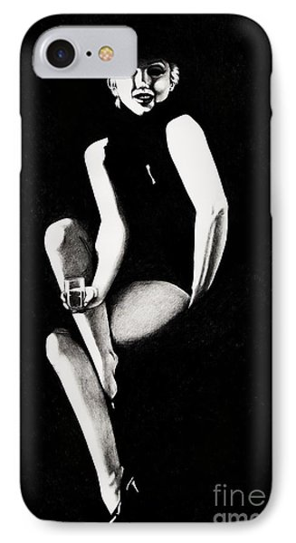 IPhone Case featuring the drawing Marilyn Relaxing by Joseph Sonday