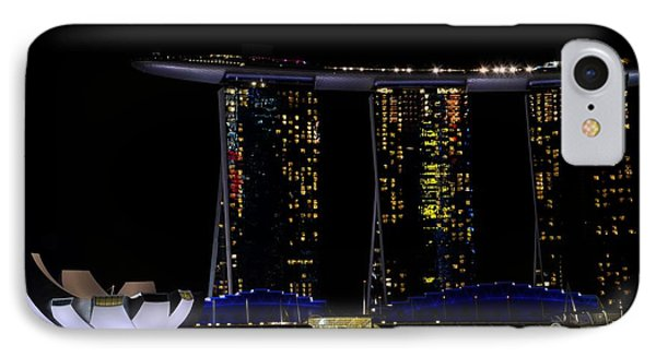 Marina Bay Sands Integrated Resort Hotel And Casino And Artscience Museum Singapore Marina Bay IPhone Case by Imran Ahmed