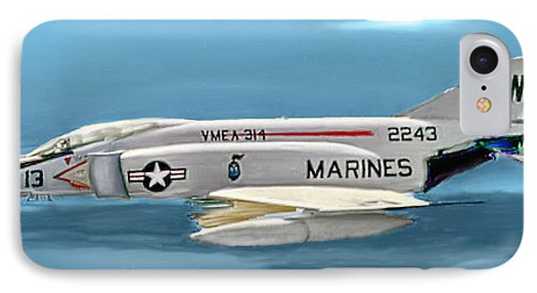 Marine F-4 Phantom  Painting IPhone Case by Bob and Nadine Johnston