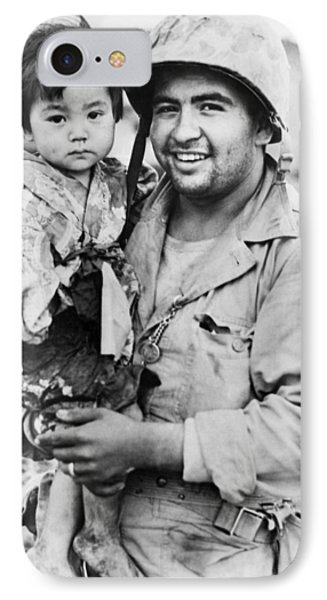 Marine Holds Injured Girl IPhone Case by Underwood Archives