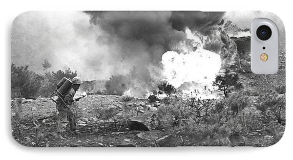 Marine With Flamethrower IPhone Case by Underwood Archives